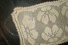 Vintage Deco Design Beige Rectangular Crochet Lace Doily -Floral Design