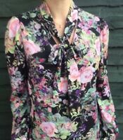 John Zack Tie V Neck   Blouse Shirt  Top  Floral New A W
