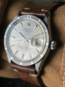ROLEX 1501 OYSTER PERPETUAL DATE SILVER DIAL 34MM MENS VINTAGE AUTOMATIC WATCH