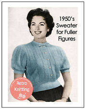 Flattering Suéter Blusa años 50 Tejer patrón-tamaño más grande de tejer