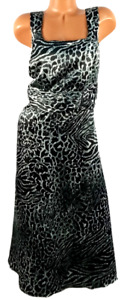 Dana Kay gray black animal print sleeveless gown satiny flare dress 16W