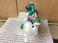 JOLLY SNOWMAN HALLMARK ORNAMENT 2017 GLASS SNOWMAN SHIPS NOW NEW! FREE SHIP US