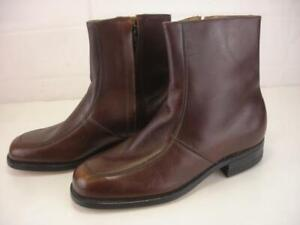 """Executive Imperials Mens sz 7 3E EEE Wide 7"""" Dress Boots Brown Leather Ankle Zip"""