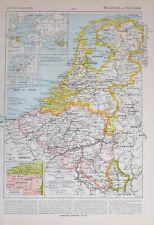 1913 MAP BELGIUM & THE NETHERLANDS HOLLAND AMSTERDAM BRABANT ANTWERP BRUSSELS