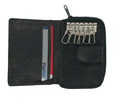 BLACK MEN'S GENUINE LEATHER KEY CHAIN Case Ring Coin Holder Accordion Wallet))