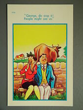 R&L Postcard: Brook Publishing, Trow 11910 Cow Bull Tickling Woman Wife
