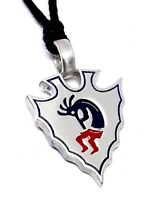 GRAND CANYON KOKOPELLI HOPI TRIBAL FLUTE PLAYER ABSTRACT PEWTER PENDANT NECKLACE