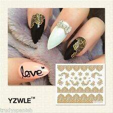 3D Nail Art Stickers Decals Metallic Gold Lace Flowers Floral Gel Polish (6009)