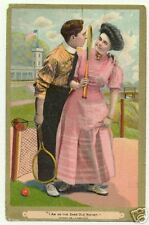 Tennis couple, spooning on the court, postcard 1910