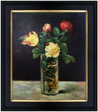 Framed Hand Painted Oil Painting Repro Edouard Manet Roses & Tulips  20x24in