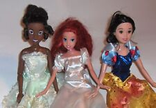 3 Barbie Doll's Mattel Disney Three Princess Dolls Snow White Tiana Ariel