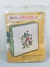 "Bucilla Needlepoint Kit Decorator Pillow 12"" Square Box Shape Strawberries 4765"