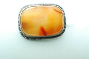 Victorian Sterling Silver And Real Carnelian Brooch