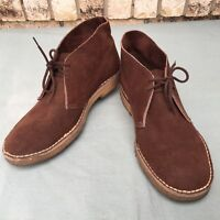 MENS BROWN SUEDE LEATHER SHOES CHUKKA ANKLE BOOTS SIZE 9 D MADE USA WITH PRIDE