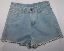 Mia Designer Washed Blue High Waisted Denim Shorts Size S BNWT #SC06