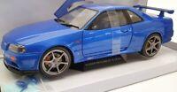 Solido 1/18 Scale Model Car S1804301 - 1999 Nissan R34 GTR - Bayisde Blue