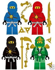 Lego Ninjago 4 Ninjas Removable Wall Stickers Set with free weapons and shuriken