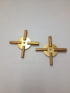 2 Pc Brass Clock Keys 4in 1 Set Even & Odd