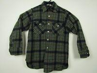 Vintage Mens Woolrich Medium Green Plaid Wool Blend Button Front Flannel Shirt