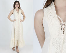Vtg 70s Gunne Sax Dress Ivory Crochet Lace Boho Wedding Long Prairie Corset Maxi