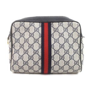Gucci Cosmetic Pouch Bag  Navy Blue PVC 2402630