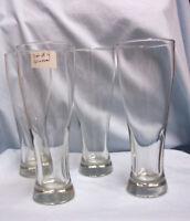 BEER GLASSES: Set of (4) Tall Pilsner Clear Glass Beer Glasses