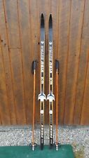 "BEAUTIFUL VINTAGE HICKORY Wooden 72"" Skis Has BLACK Finish + Bamboo Poles"
