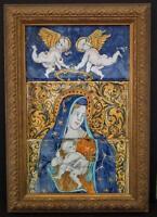 Antique 17th -18th century Italian Majolica Pottery Tiles Virgin Mary with Jesus