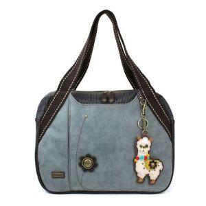 New Chala Handbag Bowling Zip Tote Large Bag Pleather Indigo Blue Llama gift