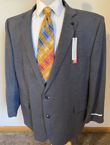 NEW Perry Ellis Mens 54R Med Grey Check Modern Fit Two-Button Suit Jacket Blazer