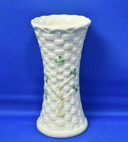 Belleek Small Basket Weave Vase with Shamrocks Made in Ireland Hand Painted