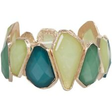 NEW Pastel Teal Green Yellow Faceted Resin Irregular Cut Stretch Cuff Bracelet