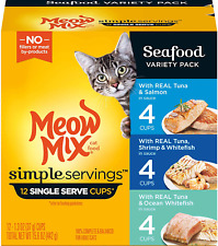 Meow Mix Simple Servings Wet Cat Food, 1.3 Ounce Cups Seafood Variety Pack