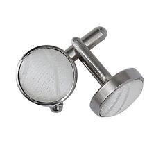 DQT Premium Woven Jacquard Swirl Wedding Men's Silver Plated Cufflinks Ivory
