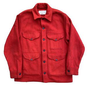 Vintage C.C. FILSON Mackinaw Cruiser Jacket 100% Wool Red Sz 44 Hunting Coat