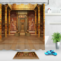 Ancient egyptian parchment Bathroom Shower Curtain Waterproof Fabric w//12 Hook