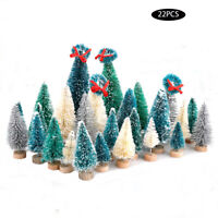 22 Pcs Christmas Small Pine Mini Tree Sisal Bottle Brushes Snow Frost Home Decor