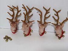 Reindeer Ornament Lot of 4 Christmas Velvet Fuzzy Mounted head Elk deer As Is