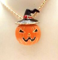 BETSEY JOHNSON TINY ORANGE PUMPKIN IN A HAT CRYSTAL & ENAMEL  PENDANT  NECKLACE