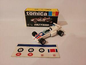 TOMICA 51 - MITSUBISHI COLT F2000 [WHITE] NEAR MINT VHTF BOX GOOD JAPAN