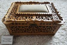 Näh-kästchen -schatulle -kasten Laubsägearbeit Monogramm WB Jugendstil Holz rar