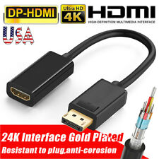 4K Display Port DP to HDMI Female Cable Adapter Converter for HDTV PC HP/DELL US