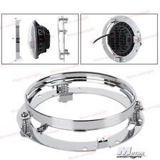 7'' Chrome LED Headlight Mounting Ring Bracket For Harley Dyna Jeep Wrangler