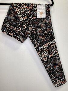 LuLaRoe TC Leggings #3714 - Flowers & Paisley on Black - Original Tall & Curvy