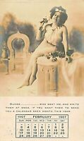 BEAUTIFUL WOMAN ON MONTHLY CALENDAR POSTCARD 1907 TO GRAHAM NC HARDWARE COMPANY