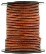 Xsotica® Brown Distressed Red Round Leather Cord 1mm 25 meters (27 yards)