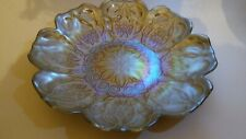 "DC Glassware Handmade Turkey Plate Bowl Decorative Glass Iridescent Gold 8"" Bon"