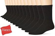 12 Pairs Hanes Premium Men's Socks, Crew, Black, size 6-12