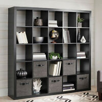 Large 25 Cube Wooden Bookcase Storage Shelves Organizer Room Divider Black