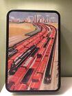 Vintage Freight Locomotive Train Tobacco Tin Metal Playing Card Case City Scene